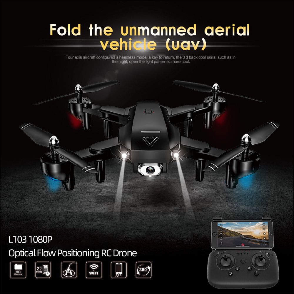 4K L103 Rc Helicopters Camera Wifi Fpv Drone Gps Drone Altitude Hold 2.4g Optical Flow Position Drone Camera Rc Toys For Kid image