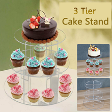 3 Tier Round Cake Stand Transparent Acrylic Display Stand Wedding Party Supplies Durable Dessert Tray Decoration Tool Cake Stand