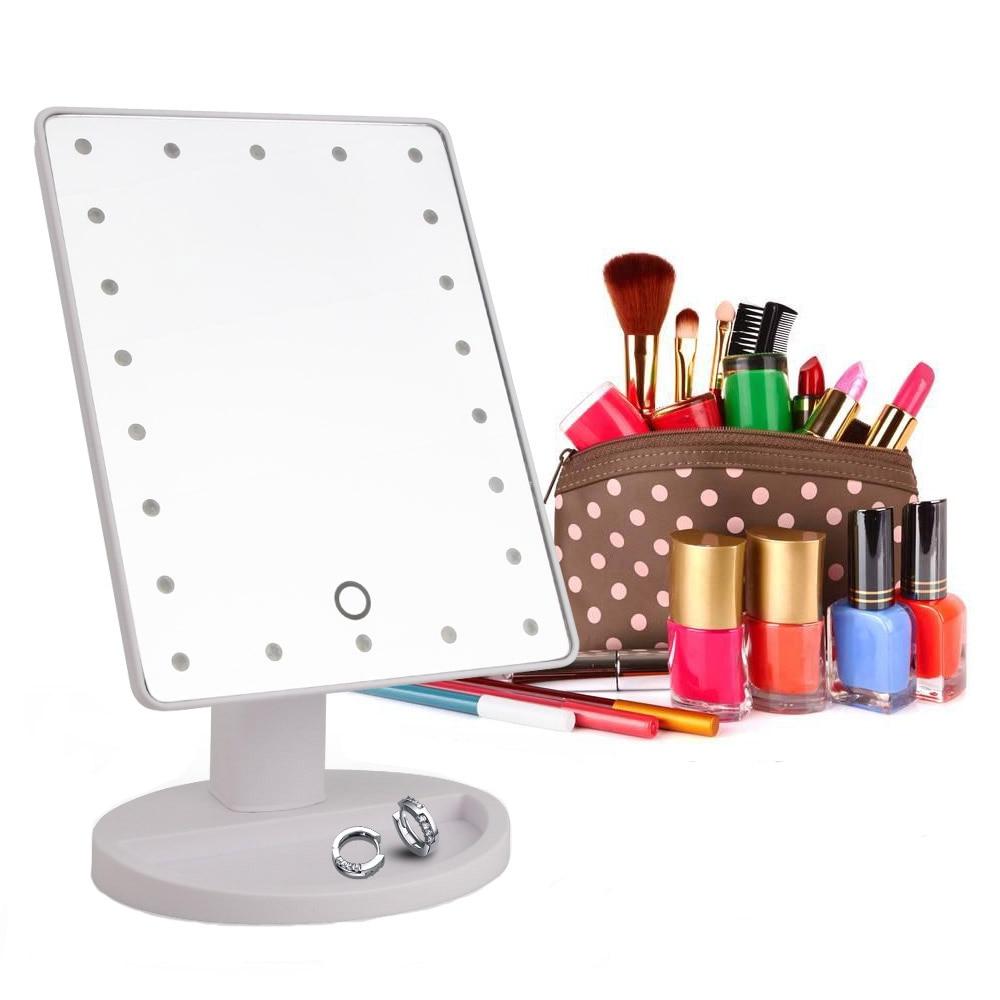 المهنية 22 مرآة المكياج المزودة بمصباح ليد ضوء المحمولة دوران الغرور أضواء مصباح اللمس مشرق قابل للتعديل USB أو استخدام البطارية