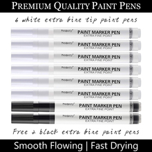 0.7mm Acrylic Permanent Marker 6 White With 2 Black Paint Pens for Wood Rock Plastic Leather Glass Metal Canvas Ceramic