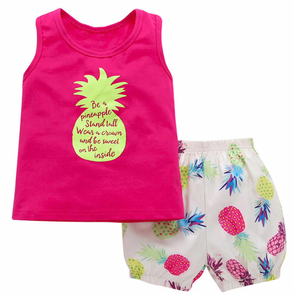 2 個セット女の赤ちゃんの夏パイナップル Tシャツトップ + ショートパンツの衣装服ドレス新生児 Roupas ティス menina