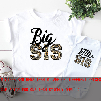 Little Sister Shirt Leopard big  sibling t-Shirt Sisters pregnancy announcement matching sister outfit - discount item  35% OFF Children's Clothing