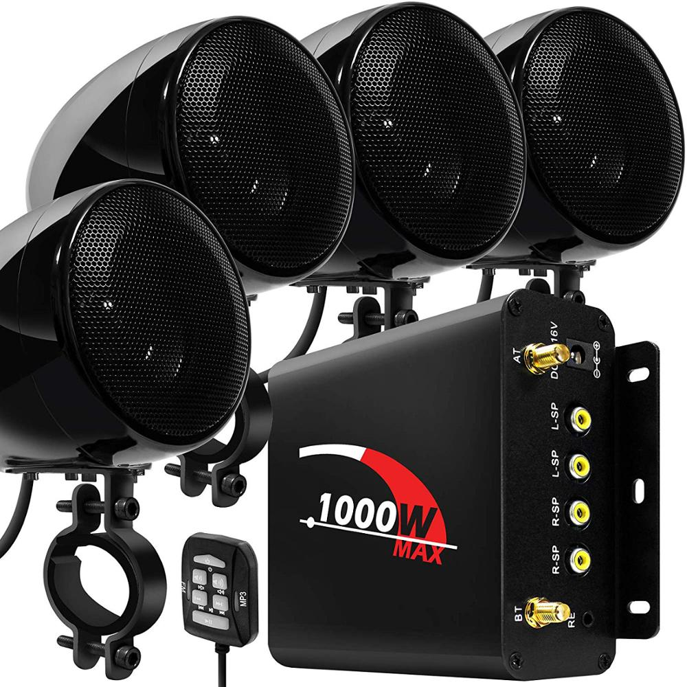 Aileap 1000W Motorcycle Audio 4 Channel Amplifier Speakers System, Support Bluetooth, AUX, FM Radio, SD Card, USB Stick (Black)Motorcycle Audio   -