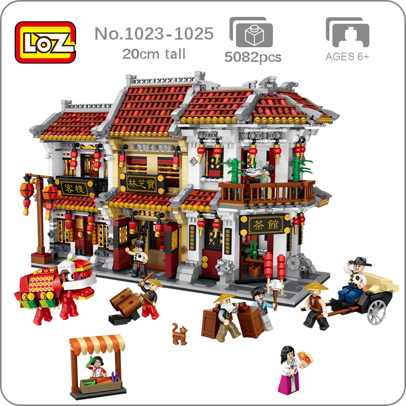 LOZ City Ancient Street Chinatown Teahouse Tavern Pharmacy Hotel 3D Model DIY Mini Blocks Brick Building Toy For Children No Box