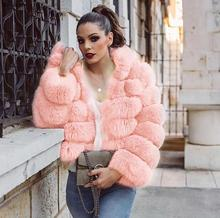 Winter Thick Warm Faux Fur Coat Women Plus Size Hooded Long Sleeve Jacket Luxury Coats