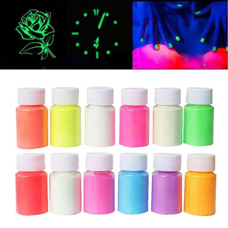 12 Color Luminous Resin Pigment Kit Glow In The Dark Powder Pigment Colorant Dye Fluorescent Resin Jewelry Making Tools