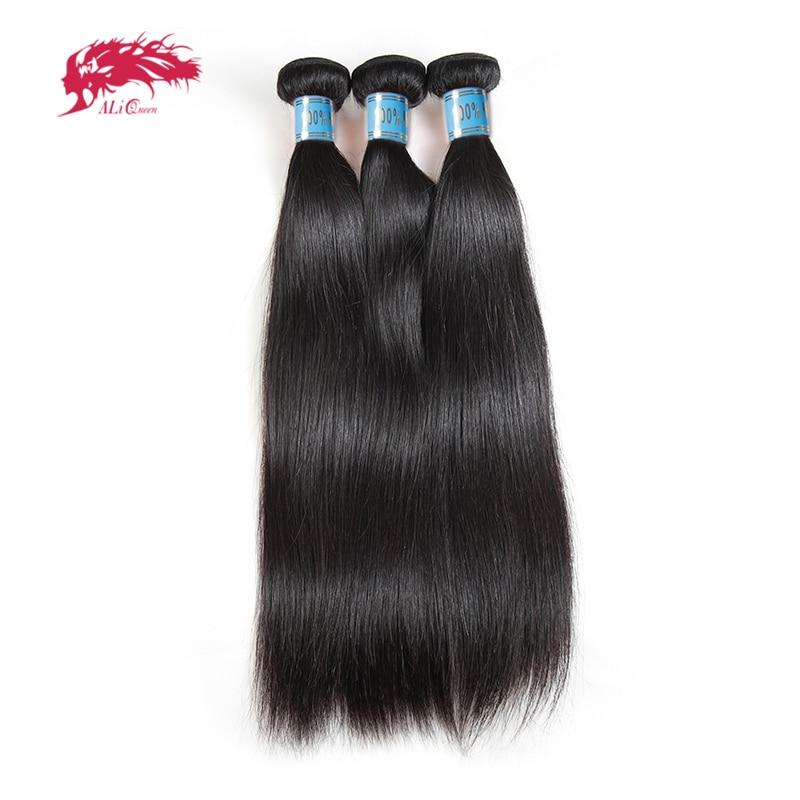 Ali Queen Hair Peruvian Straight Hair Bundles 100% Human Hair Extensions Natural Color 8