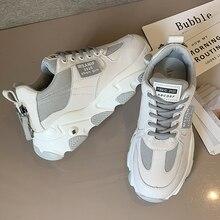 Sapatos femininos plataforma apartamentos novo designer malha respirável sapatos casuais moda feminina formadores rendas até lazer vulcanizado