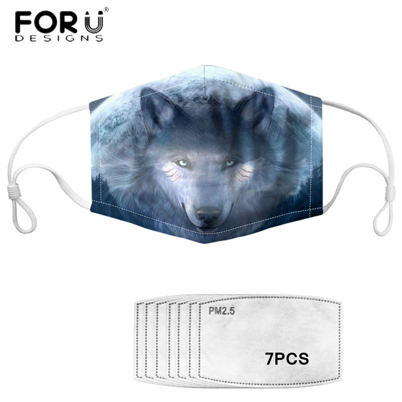 FORUDESIGNS Face Mouth Masks For Men White Art Wolf Printed Washable Fashion  Dust-Proof Respirator Masks With Filters 2020