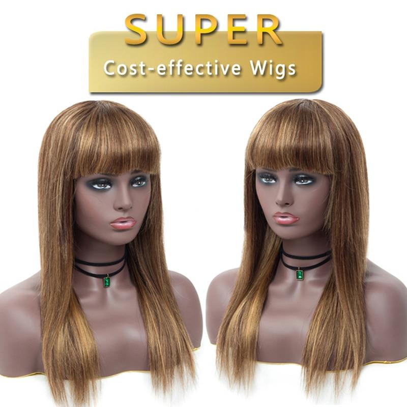 P4/27 Human Hair Wigs Human Hair Wigs With Bangs For Black Women Wig Bangs Human Hair Brazilian Straight Hair Wig Non Remy
