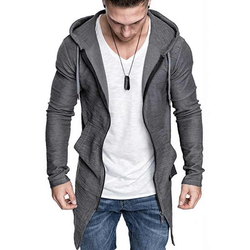 Laamei Men's Long Cardigan Sweater Jacket Hooded Zipper Slim