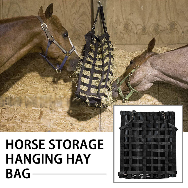 Large Capacity Portable Cattle Top Closure Feeding Mesh Home Adjustable Strap Braided Nylon Storage Fodder Horse Hanging Hay Bag