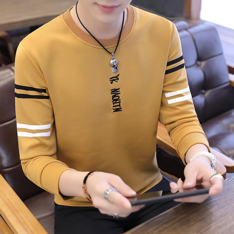 Spring and autumn 2020 new men's Korean long sleeve T-shirt trend men's clothes ins bottoms T-shirt trend brand