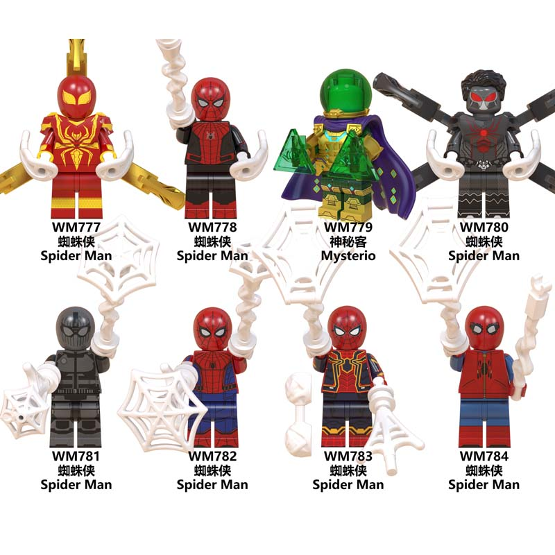 Single Marvel Movie Spider-Man Venom Far From Home Mysterio Peter Parker Collection Spiderman Building Blocks Kids Toys