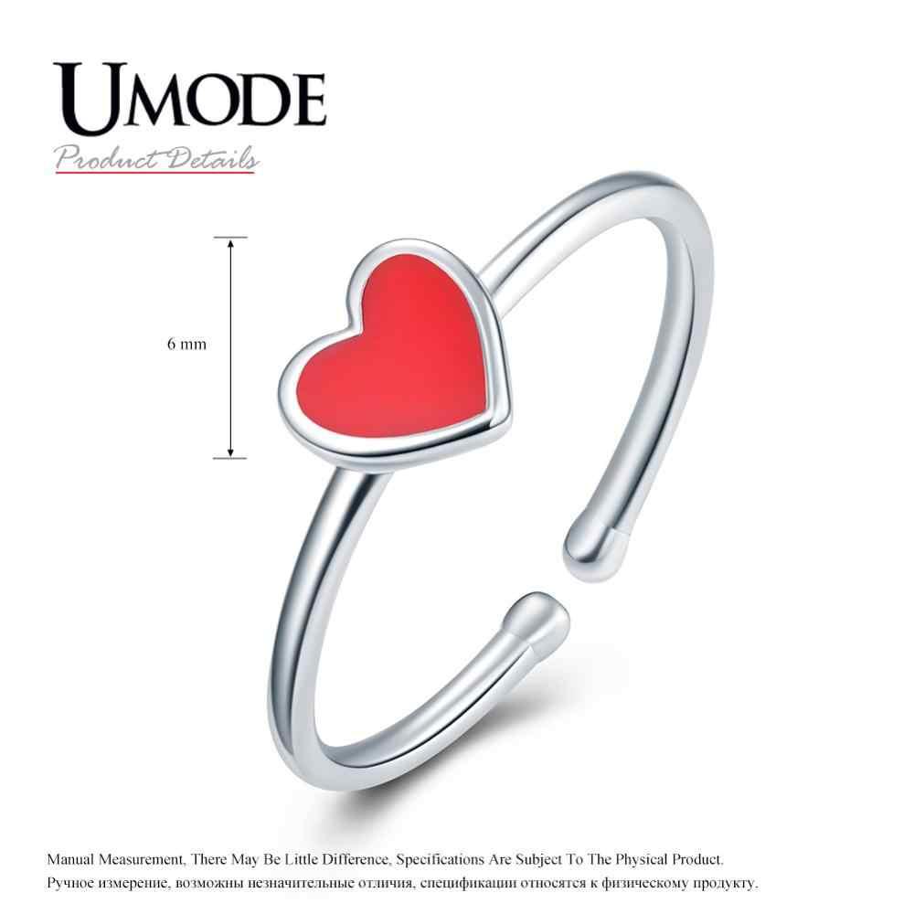 UMODE 2019 ใหม่ 925 เงินสเตอร์ลิงหัวใจสีแดงเปิดแหวนผู้หญิงแหวนเงิน 925 เครื่องประดับ Bijoux ของขวัญ ALR0755