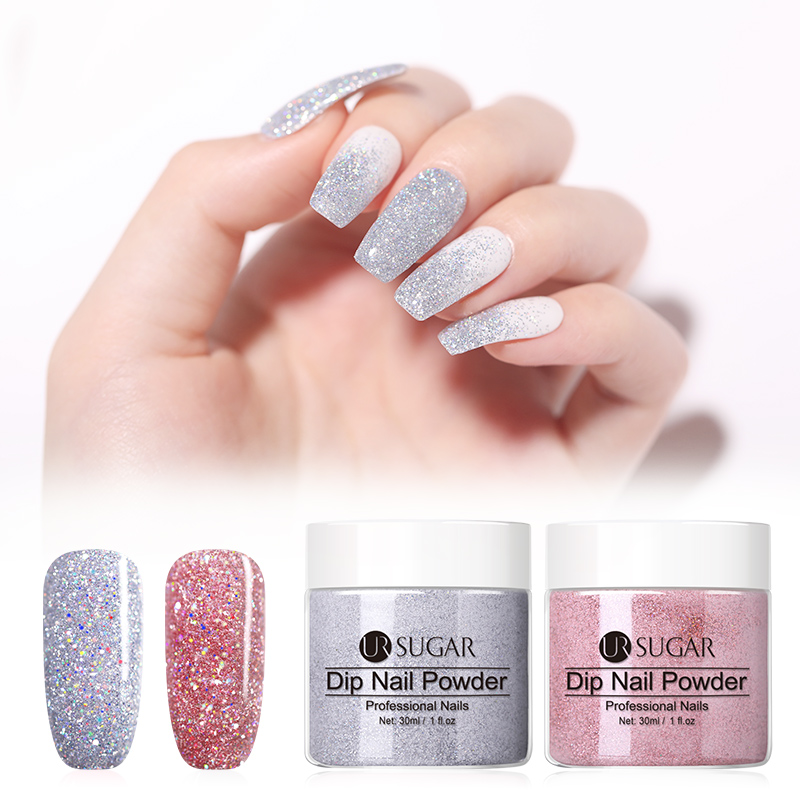Набор порошков для ногтей UR SUGAR, 2 шт./лот, с натуральным сухим блеском, для дизайна ногтей, акриловый пигмент