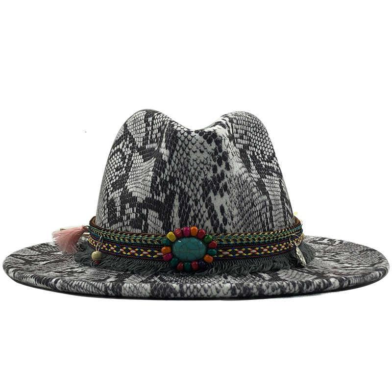 Merek Baru Lembut Wol Merasa Topi Floppy Topi Fedora untuk Wanita Pria Kulit Ular Jazz Cap Musim Dingin Panama topi