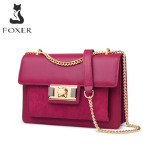 FOXER Simple Small Crossbody Bags for Women Split Leather Flip Messenger Bags Casual Lady Chain Shoulder Bag Luxury Mini Purse