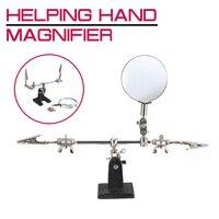 Ajudando a terceira mão ferramenta de solda suporte com 4x soldagem lupa led 360 graus rotação ajustável 2 jacaré clipes Lupas     -