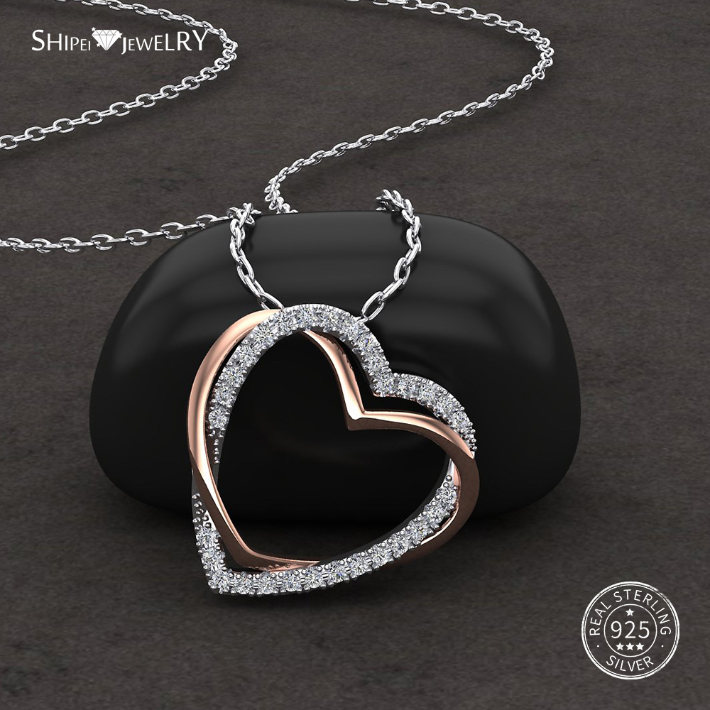 Shipei Doubel Heart Necklace for Women Real 100 925 Sterling Silver Topaz Pave Setting Heart Pendant Necklace Fine Jewelry Gift in Necklaces from Jewelry Accessories
