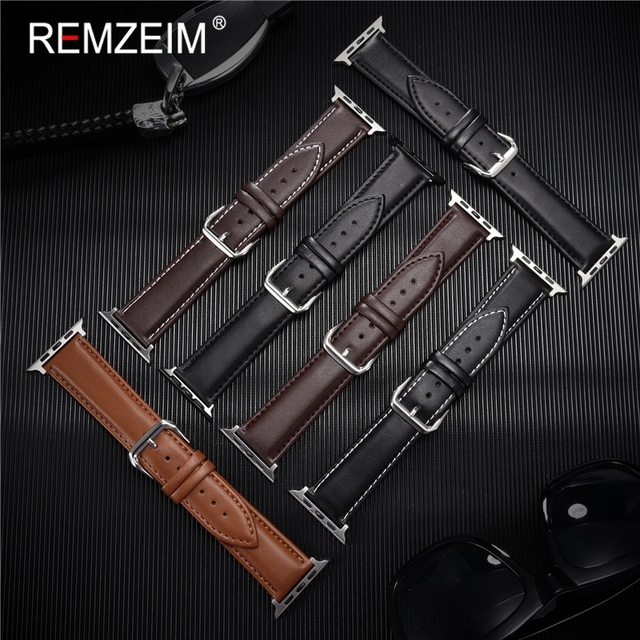 Calfskin Genuine Leather Watchband 38mm 40mm for iwatch 1 2 3 4 5 Soft Material Replace Wrist Strap 42mm 44mm for Apple Watch 3