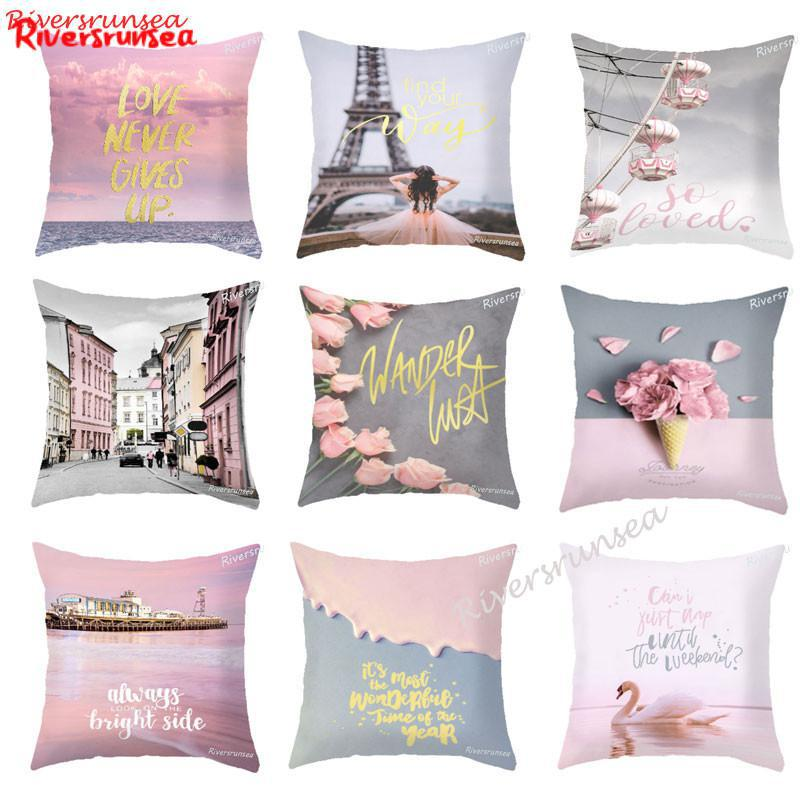 European Style Pink Flower Pillow Eiffel Tower Maiden Heart Printed Warm Color Rose Swan English Letter Cushion For Girl Room