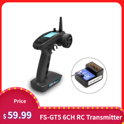 FlySky FS-GT5 2.4G 6CH AFHDS RC Transmitter w/ FS-BS6 Receiver for RC Car Boat
