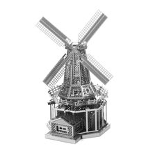 Mantra Cinta Semua Logam DIY Arsitektur Dirakit Model 3D Nanometer 3D Puzzle Model Holland Windmill(China)