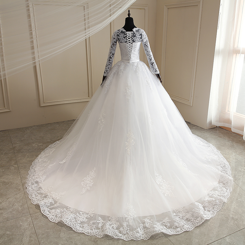 Mrs Win Wedding Dress 2021 New Full Sleeve Sweep Train Lace Up Ball Gown Princess Luxury Lace Wedding Gowns Plus Size Dresses