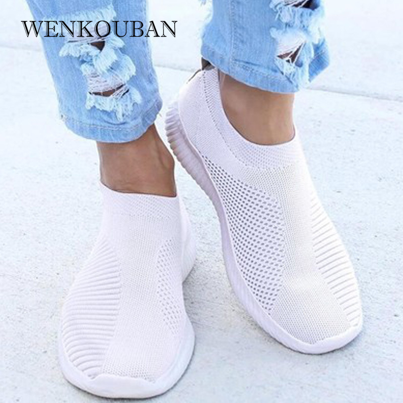 Women Sneaker Air Mesh Soft Female Knitted Vulcanized Shoes Casual Slip On Ladies Flat Shoes Walking Footwear Dropping Shipping