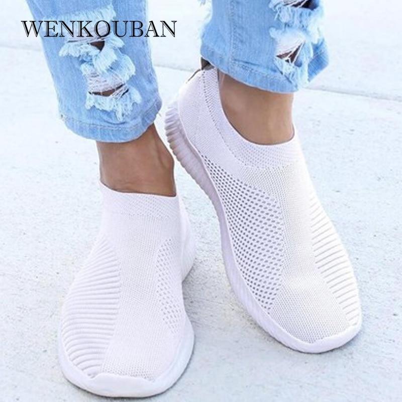 Women Sneaker Air Mesh Soft Female Knitted Vulcanized Shoes Casual Slip On Ladies Flat Shoes Walking Footwear Women Shoes 2020