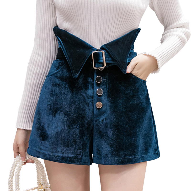 Velvet Shorts Women Belt Fashion Midi Shorts Female Plus Size Buttons Autumn Winter High Waist Short Trouser Pocket Black Shorts