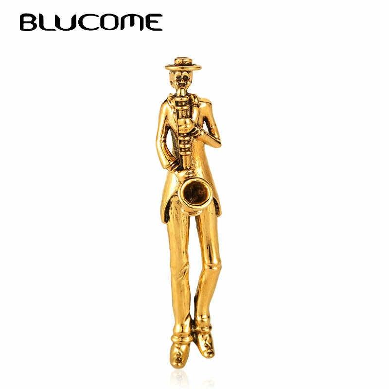 Blucome Hidup Musisi Bermain Saksofon Bros Korsase Wanita Pria Vintage Gambar Suit Lapel Pin Perhiasan Musik Harajuku Bros