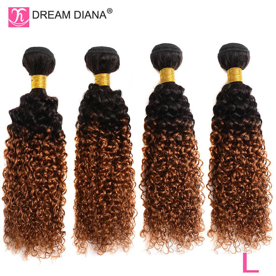 DreamDiana brasileño rizado paquetes con cierre 1B/30 4 paquetes de cabello Remy con cierre 100% Ombre cabello humano con cierre