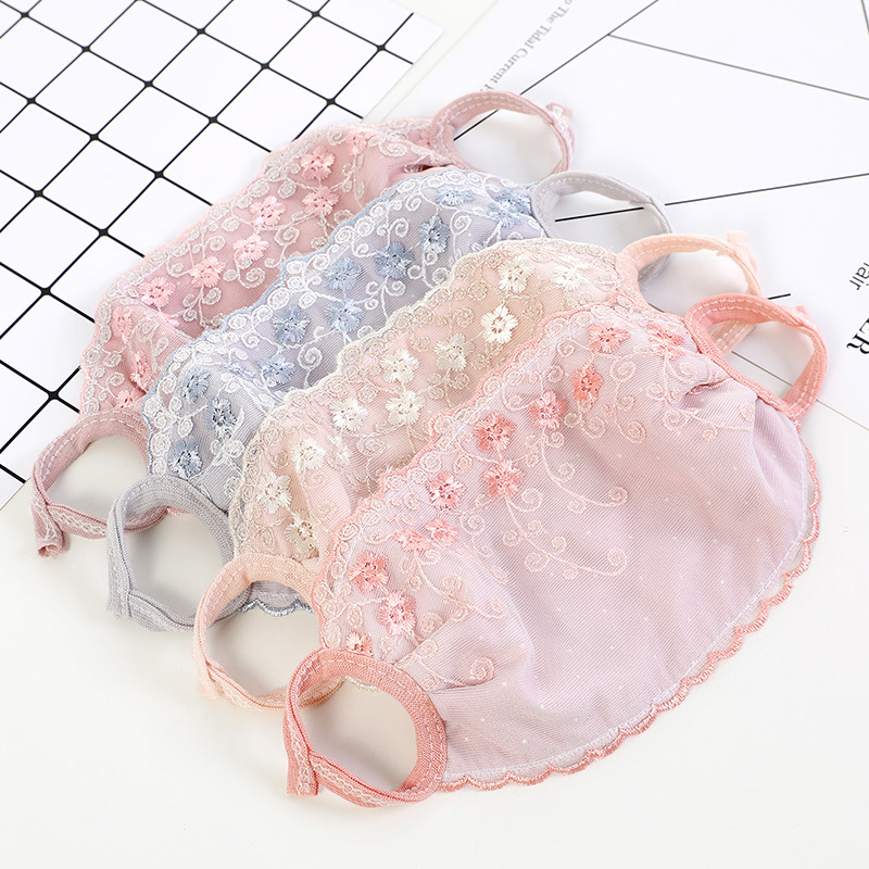 Lace Mouth Mask Women Fashion Cute Flower Design Anti-Dust Mouth Mask Female Winter Pink Embroidery Kawaii Face Mask Korean