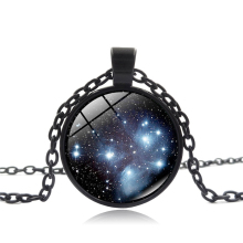 New Handcrafted Pleiades Star Cluster Pendant Universe Galaxy Necklace Space Jewelry Black Blue Round Photo Pendant Necklace