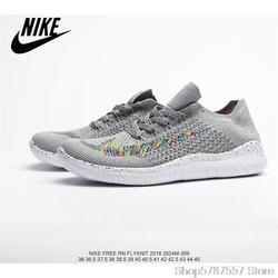Nike Free Rn Flyknit Barefoot Series 3M Reflective Gypsophila Mesh Knit Breathable and Lightweight Women's Running Shoes Size