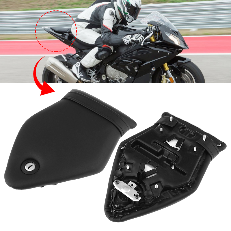 Motorcycle Seat Kit Rear Passenger Seat Pillion Cushion & Lock Kit PU Leather For BMW S1000RR 2009-2017 Black Moto Accessories