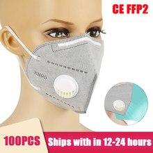 Masques Anti-poussière kn95 ffp3 ffp2, avec Valve, respirants, pour le visage