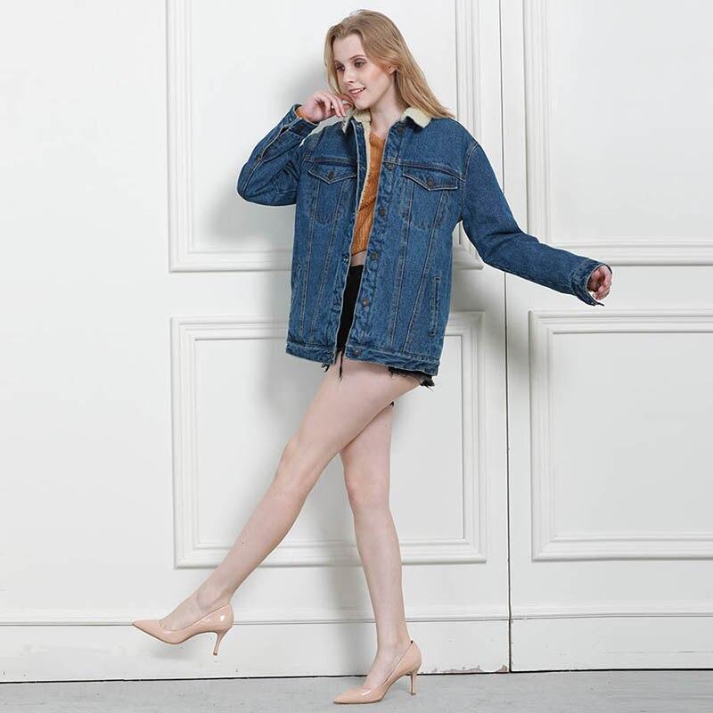 Autumn Winter Women Denim Fancy Jacket Slim Long Sleeve Knit Denim Stretch Denim Washed Blue Female Lady Coat - 4