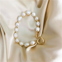 2020Korean New Round Buckle Heart-shaped Natural Pearl Bracelets for Women Girls Party Jewelry Gifts