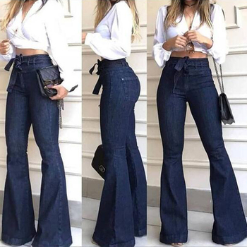 Skinny High Waist Denim Women Flare Pants Street Style Blue Sexy Vintage Ladies Flared Trousers Bell Bottom Jeans Fall 3