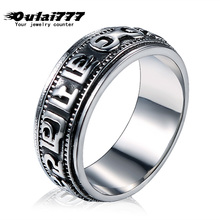 oulai777 ring men wholesale stainless steel  back vintage lord of the dainty mens rings silver punk male fashion jewelry