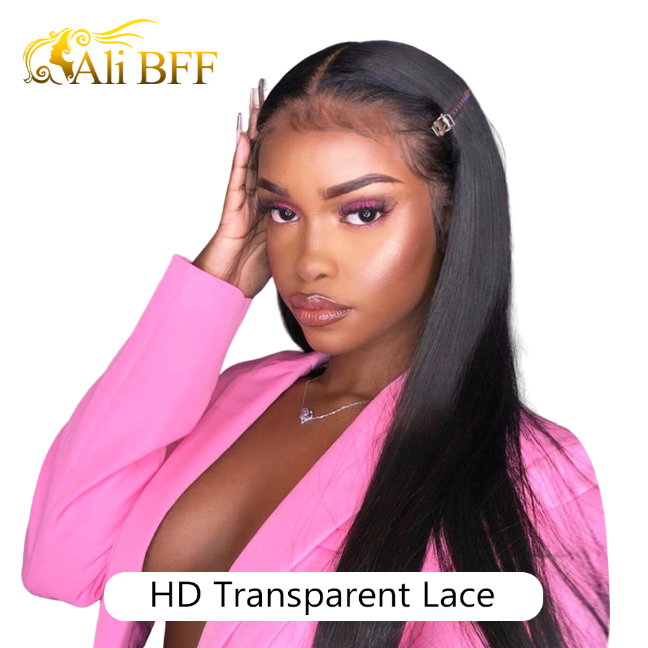 ALI BFF HD Transparent Lace Wig Straight Lace Front Human Hair Wigs 150 180 Density Remy Pre Plucked Brazilian Lace Front Wig