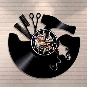 Расческа, ножницы, фен для волос, салон красоты, настенные часы, парикмахер, виниловая запись, часы, винтажный парикмахер, настенный знак, стр...