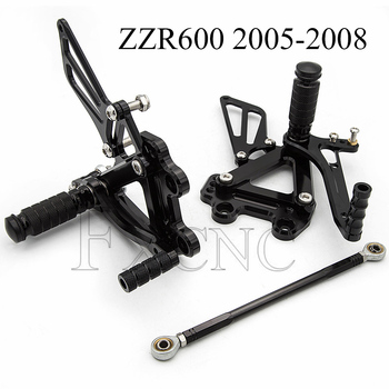 CNC Adjustable Rearset For Kawasaki ZZR600 ZZR 600 2005-2008 Motorcycle Foot Pegs Rest Footpegs Pedals Rearsets Footrest
