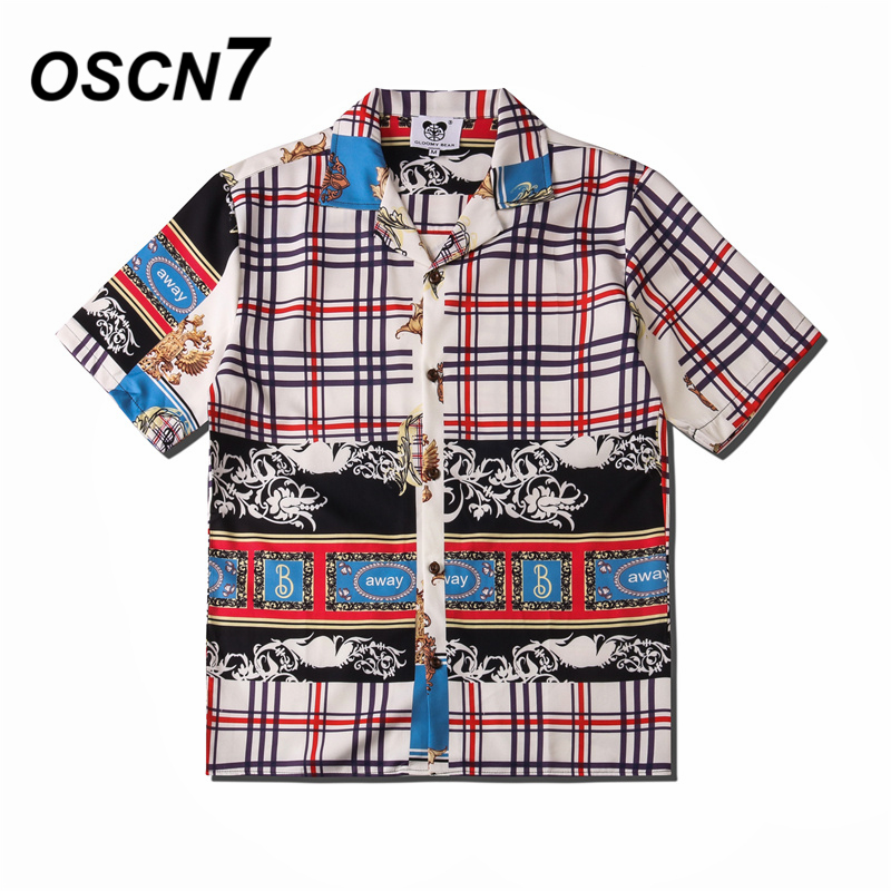 OSCN7 Casual Street Printed Short Sleeve Shirt Men 2020 Hawaii Beach Oversize Women Fashion Harujuku Shirts For Men CSD09