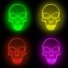 Halloween Led Mask Glow Scary Glowing EL Wire halloween Horror Festival Cosplay led Mascare Costume Mardi Gras