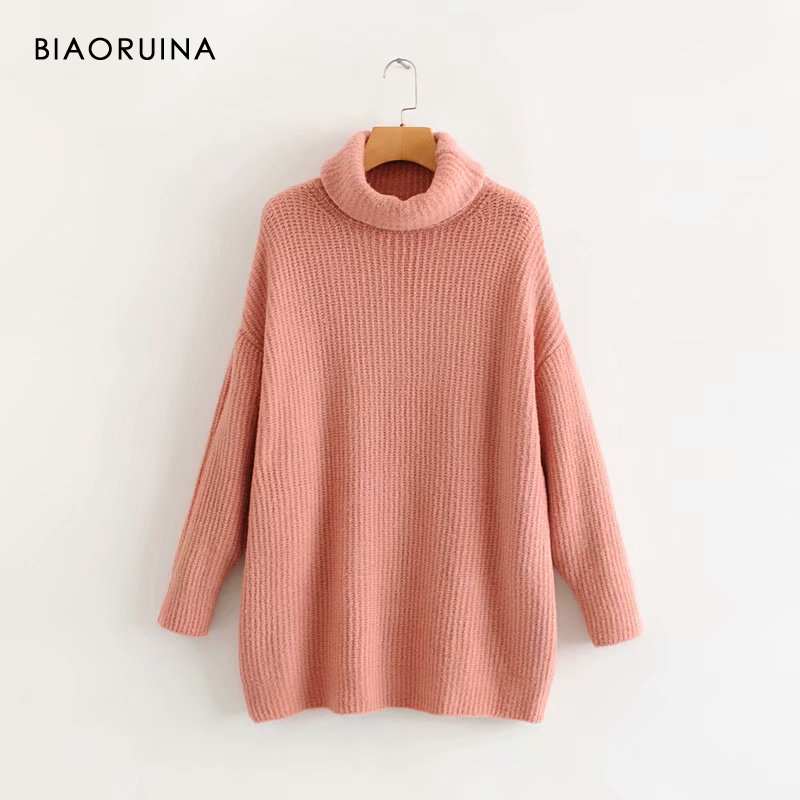 REJINAPYO 15 Color Women Fashion Solid Casual Knitted Sweater Female Turtleneck Oversized Pullover Ladies Elegant Loose Sweater 12