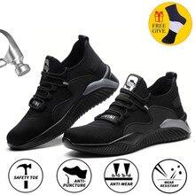 Chaussures de travail d'été indestructibles pour hommes, bottes de sécurité à embout en acier, baskets de travail anti-perforation, respirantes et décontractées